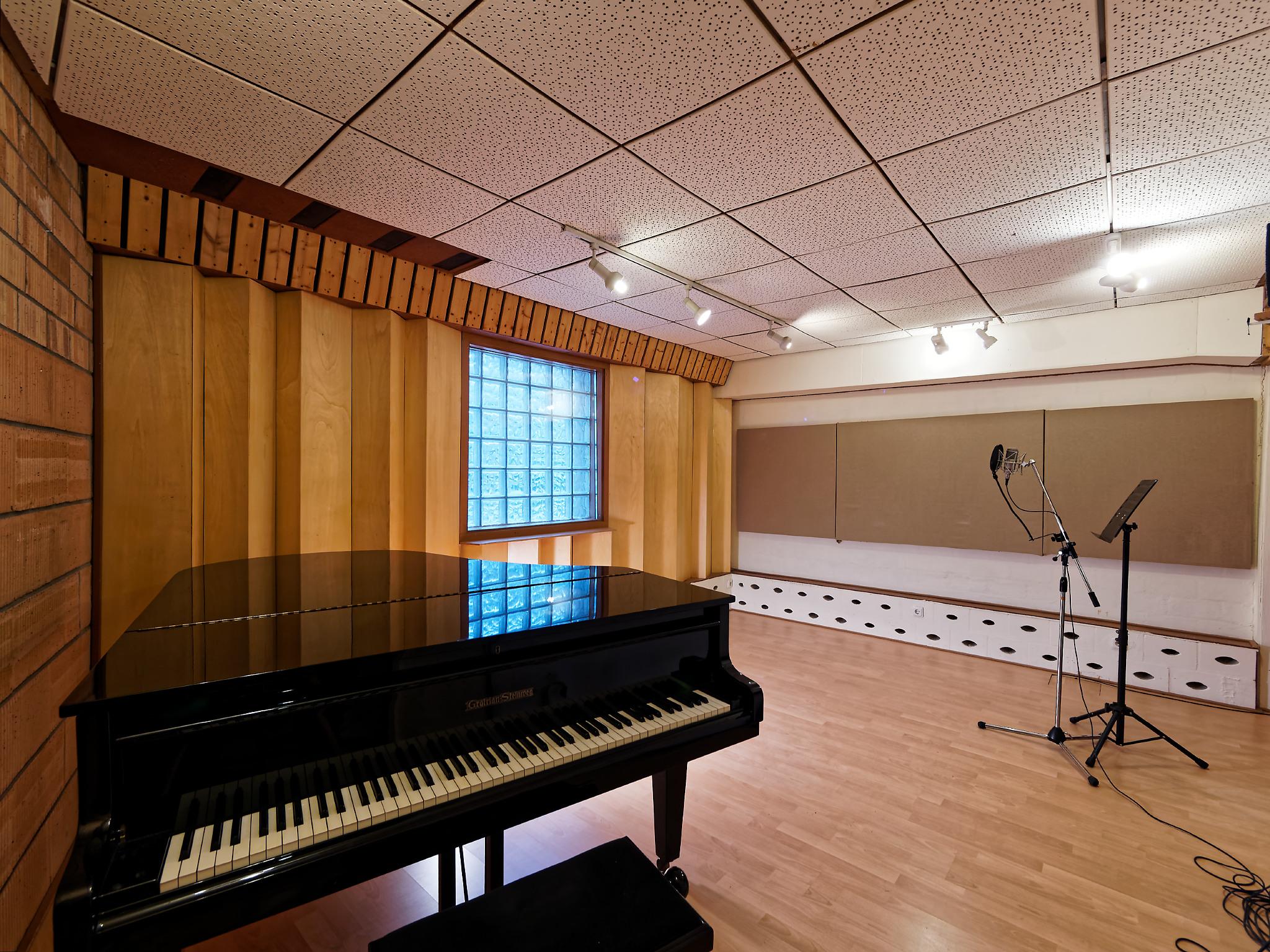 Aufnahmeraum 1 in Geos Tonstudio Köln, hervorragende Akustik, Grotrian Steinweg Flügel